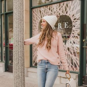 J CREW  blush pink cable knit sweater
